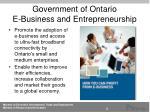 government of ontario e business and entrepreneurship