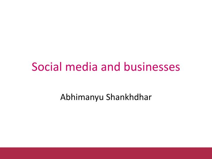 social media and businesses n.