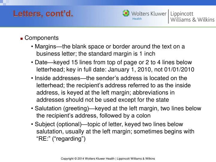 Letters, cont'd.