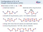configurations of o i in si oxygen thermal donors otd