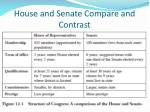 house and senate compare and contrast