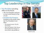 top leadership in the senate