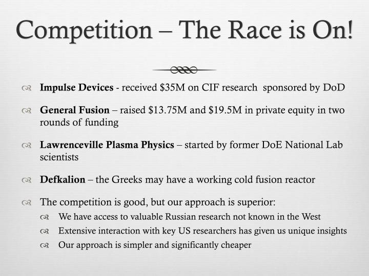 Competition – The Race is On!
