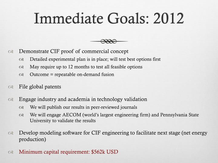 Immediate Goals: 2012