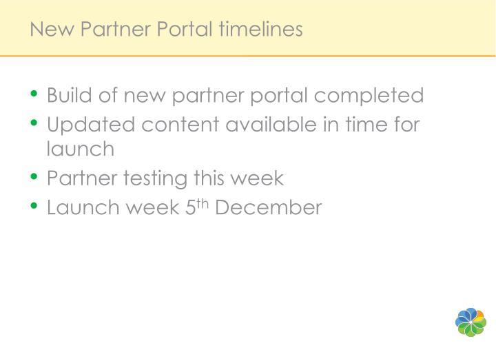 New Partner Portal timelines