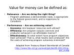 value for money can be defined as