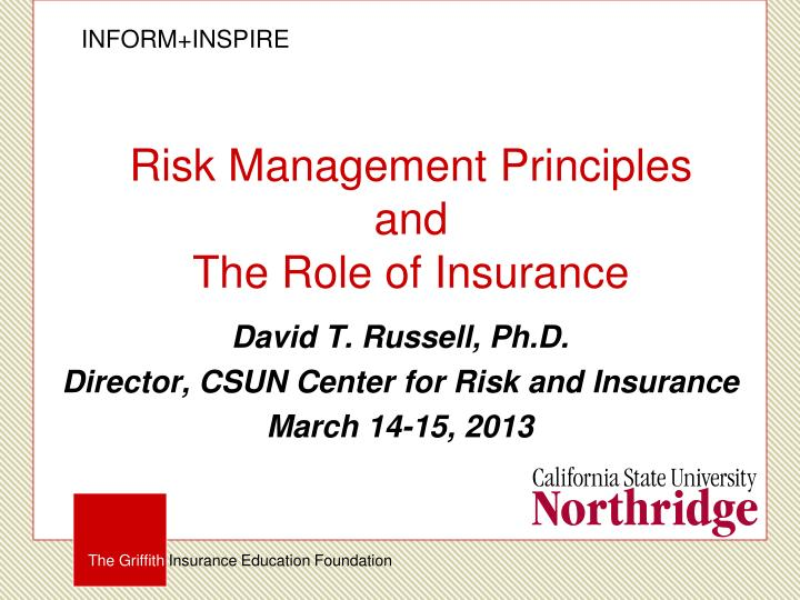 risk management principles and t he role of insurance n.
