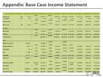 appendix base case income statement