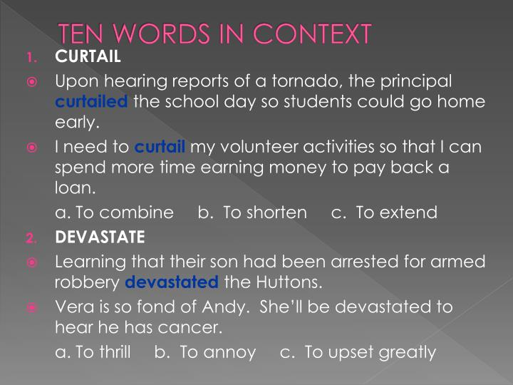Ten words in context