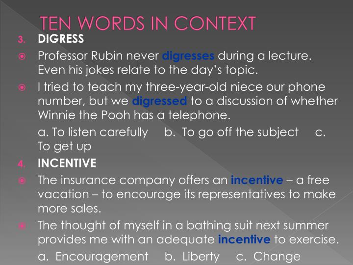 Ten words in context1