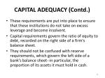 capital adequacy contd