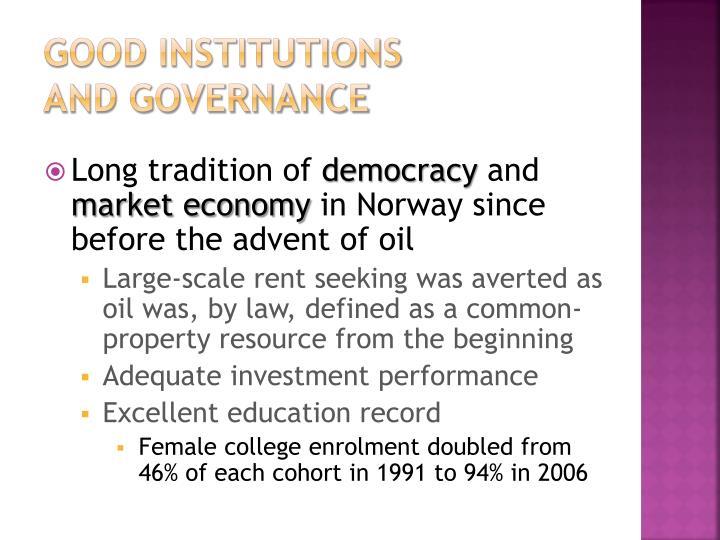 Good institutions
