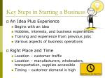 key steps in starting a business