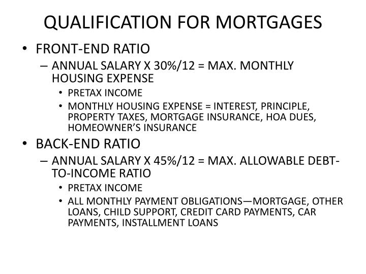 QUALIFICATION FOR MORTGAGES