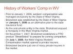history of workers comp in wv