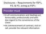 disclosures requirements for fsp s p s p s acting as fsp s5
