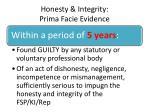 honesty integrity prima facie evidence1