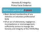 honesty integrity prima facie evidence2