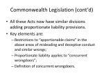 commonwealth legislation cont d