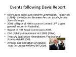 events following davis report