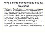 key elements of proportional liability provisions