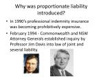 why was proportionate liability introduced