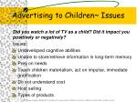 advertising to children issues