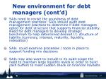 new environment for debt managers cont d1