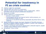 potential for insolvency in fi as crisis evolved