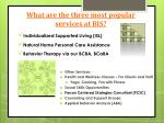 what are the three most popular services at bis