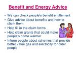 benefit and energy advice
