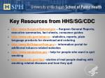key resources from hhs sg cdc