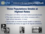 three populations smoke at highest rates