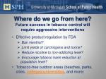 where do we go from here future success in tobacco control will require aggressive interventions