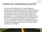 criteria for certification cont d