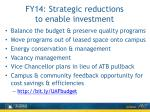 fy14 strategic reductions to enable investment