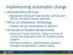 implementing sustainable change