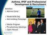 asthma ipsf and professional development recruitment