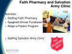 faith pharmacy and salvation army clinic