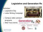 legislative and generation rx