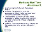 math and med term assessment