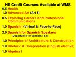 hs credit courses available at wms