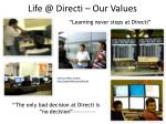 life @ directi our values