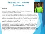 student and lecturer testimonial