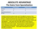 absolute advantage the gains from specialization