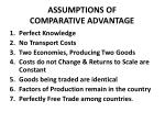 assumptions of comparative advantage