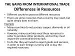 the gains from international trade differences in resources