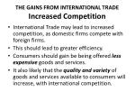 the gains from international trade increased competition