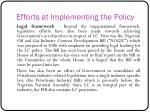 efforts at implementing the policy1