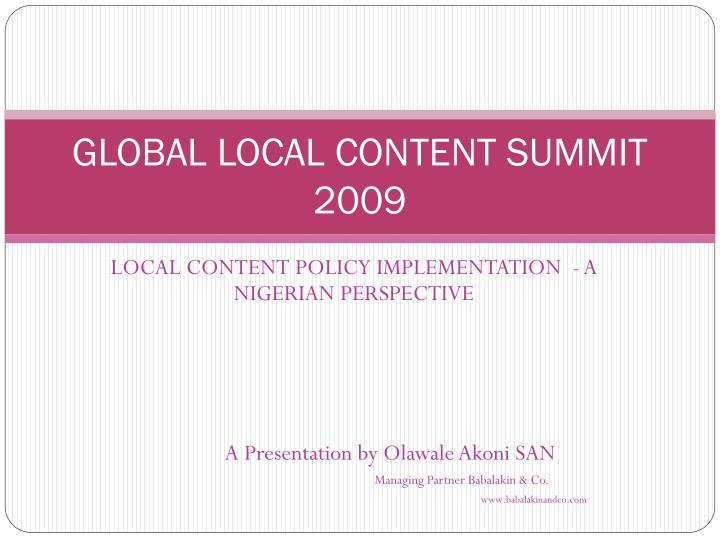 global local content summit 2009 n.